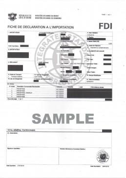 科特迪瓦的进口许可号码FDI NO