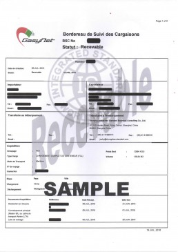 马达加斯加BSC电子货物跟踪单 证书样本